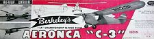 "Vintage AERONCA C-3 36"" Berkeley FF / RC Model Airplane PLAN + Parts Patterns"