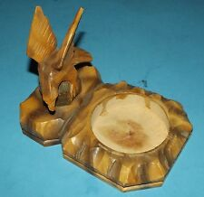 """Carved Wood Eagle with Round Tray Holder about 6""""x3""""x4"""" Vintage Rustic Folk Art"""