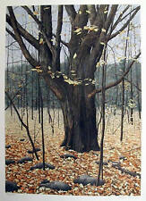 """Helen Rundell Hand Signed /# """"Old Oak"""" Fall wooded scene Lithograph"""