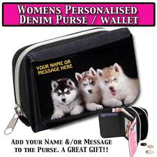 PERSONALISED HUSKY PUPPY DOG WOMENS DENIM PURSE WALLET LADIES MOTHERS GIFT 130