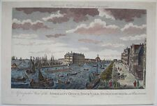 1780s ENGRAVING AMSTERDAM HOLLAND ADMIRALTY OFFICE DOCK-YARD SHIPS & BUILDINGS