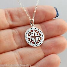 Compass Charm Necklace - 925 Sterling Silver NEW Graduation Direction Nautical