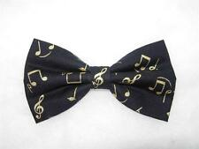 (1) PRE-TIED BOW TIE-TOUCH OF CLASS - METALLIC GOLD MUSICAL NOTES ON BLACK