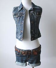 Abercrombie & Fitch Hollister Distressed Cropped Denim Jean Jacket Vest Coat XS