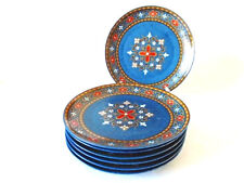 SET OF 6 WINTERLING SCHWARZENBACH COBALT BLUE RETRO 17.5 cm TEA/SIDE PLATES