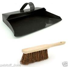 "Black Hooded 13"" Metal Dustpan &  STIFF Brush Dust Pan Ash Pan Set FREE POSTAGE"