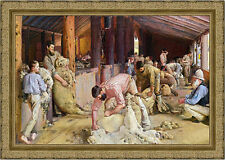 Shearing The Rams by Tom Roberts 90cm x 64cm Framed Gold Ornate