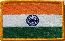 INDIA  Flag Iron-On Patch  Indian Military Emblem Gold Border