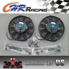 "2 × 9"" inch Universal Electric Radiator RACING COOLING Fan + mounting kit BLACK"