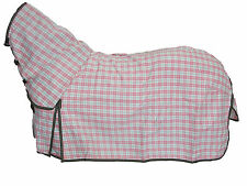 AXIOM POLYCOTTON PINK & GREEN CHECK RIPSTOP UNLINED HORSE COMBO RUG 6'0