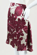 Etro NWT Gray & Maroon Purple Silk Floral Print Swing Skirt SZ 42
