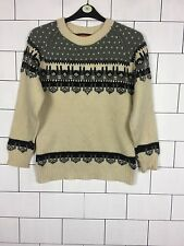 WOMENS URBAN VINTAGE RETRO 90'S STYLE SNOWFLAKE WOOL KNITTED JUMPER UK M #39