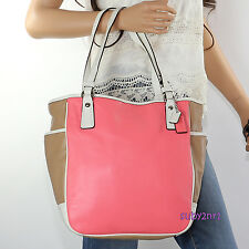 NWT Coach Park Colorblock Leather Tote Shoulder Bag F23683 Taupe Rose Pink NEW