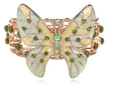 Gold  Sea Foam Beige Enamel Green Rhines Butterfly New Hot Chic Bracelet