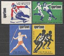 POLAND 1974 Matchbox Label - Cat.G#334/37 set, Sports - Skiing, javelin, footbal