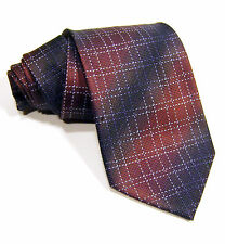 New KENNETH COLE Wine & Blue 100% Silk Mens  Woven Neck Tie Checks Stripes