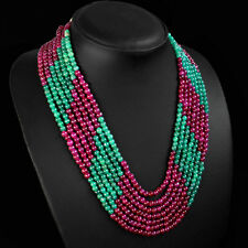 SUPERB MARVELLOUS 481.00 CTS NATURAL RED RUBY & GREEN EMERALD BEADS NECKLACE