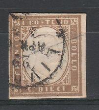 FRANCOBOLLI 1861 SARDEGNA 10 C. BRUNO TENUE C/3724