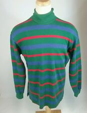 Vintage 90s RALPH Lauren Polo Green Stripe Turtle Neck Shirt Sweatshirt L