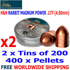 H&N RABBIT MAGNUM POWER .177 4.50mm Airgun Pellets 2(tins)x200pcs FAC HUNTING