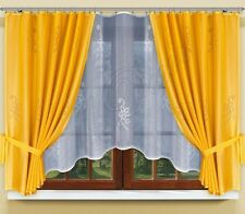 Modern, jacquard set net curtains with curtain tape WHITE/GOLD