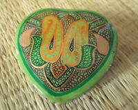 Hand painted kashmir papier mache heart green paisley design trinket box