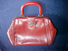 Vintage Etienne Aigner Burgundy Leather Factory Outlet E Town Bag Purse Mirror