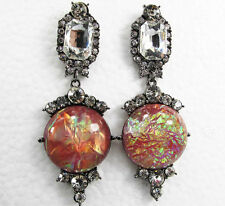 ANTHROPOLOGIE ELEGANT CLEAR RHINESTONES OPAL RED STONE DROP DANGLE EARRINGS NEW