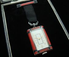 Beautiful, Mesmeric Ladies' Art Deco Red Enameled Juvenia Pendant Watch w/ Box