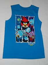 Boys Sleeveless Shirt ANGRY BIRDS IN SPACE Turquoise Muscle Tee SIZE 8