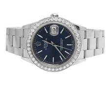 Rolex Date 1501 Oyster Perpetual 34MM Unisex Blue Dial Diamond Watch 2.75 Ct