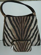 NWT COACH MADISON PHOEBE ZEBRA PRINT SHOULDER PURSE 26636 AND WALLET 50489