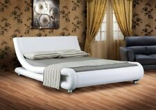 4ft6 Italian Designer Faux Leather Double Mallorca Bed Frame In WHITE