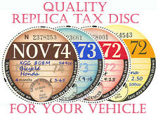 TAX DISCS' 4 QUALITY REPLICAS FOR THE DISCERNING OWNER.ALL YEARS FROM 1921-2020: