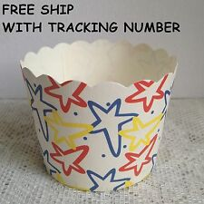 FREE SHIP 100pcs Primary Color Stars Paper Muffin Cups Baking Candy Nut Party