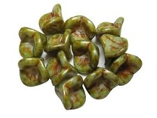 9x12mm Khaki Green Picasso Czech Glass 3 Petal Bell Flower Beads (12) #3692