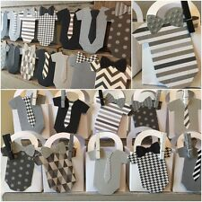 Boys Black White Grey Silver Ties Little man Baby Shower Thank You favor boxes