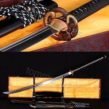 JAPANESE NAGINATA SWORD DAMASCUS STEEL CLAY TEMPERED BATTLE READY SHARP BLADE