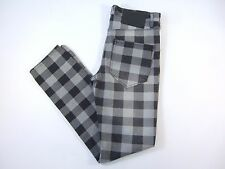 ROCAWEAR BLAK CHECK CHECKERED BLACK 33 SKINNY FIT LEG WOVEN COTTON JEANS NWT NEW