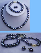 8-9mm Natural Black Cultured Pearl 14K GP Necklace Bracelet Earrings Jewelry Set