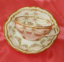 ANTIQUE HAVILAND LIMOGES CUP & SAUCER ROSE SWAGS RIBBONS DOUBLE GOLD~ EXCELLENT