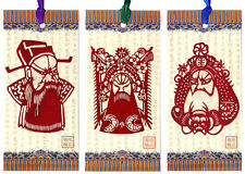 Chinese Bookmarks With Chinese Paper Cuts - Chinese Opera Masks (Set of 3)