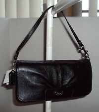 COACH LARGE FLAP WRISTLET WALLET PURSE #F45981 LEATHER BLACK NWT