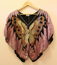 Butterfly Beaded Sequins Pink Black 100% Silk Blouse Made in India Size M