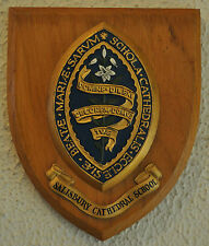 Salisbury Cathedral School wooden plaque shield coat of arms