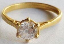bague bijou rétro solitaire cristal diamant sur 6 griffes couleur or T.49