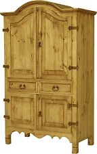 RUSTIC Hand Made Mexico PINE Wood 2 Drawer Television TV ARMOIRE