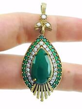 HANDMADE VICTORIAN JEWELRY 925 STERLING SILVER EMERALD TOPAZ PENDANT P1738