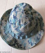 New USMC Woodland Digital Camo Boonie Hat Cap Green , EGA, Chin Strap X-SMALL