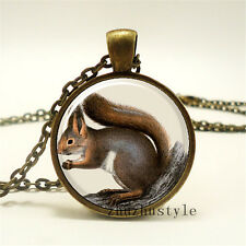 New arrival Vintage squirrel Cabochon Photo Glass Chain Pendant Necklace